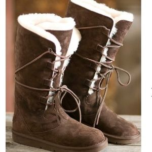 UGG Australia women 8 Whitley brown lace up boots